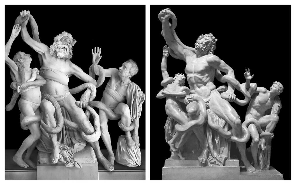 Artist Galina Bleikh arranged a reenactment, left, of the Greek Laocoon, with the original at right. (Courtesy/ Public domain)