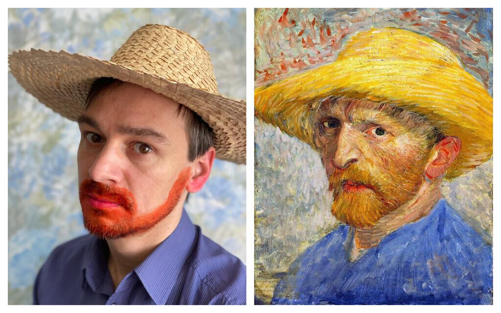 Katerina Brudnaya-Chelyadinova's husband Dmitry, left, reenacting Van Gogh's famous 1887 self-portrait, right. (Courtesy/ Public domain)