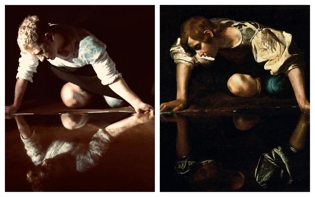 Vladimir Shcherban, left, reenacting Caravaggio's Narcissus, right. (Courtesy/ Public domain)