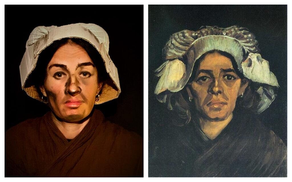 Olga De, left, reenacting Van Gogh's Gordina de Groot, right. (Courtesy/ Public domain)