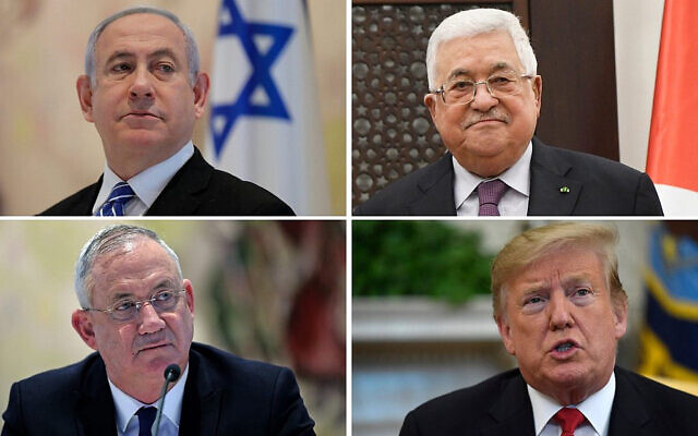 Clockwise from upper right: Prime Minister Benjamin Netanyahu, May 24, 2020. (Abir Sultan/Pool Photo via AP); Palestinian President Mahmoud Abbas, Jan 23, 2020. (Alexander Nemenov, Pool via AP); President Donald Trump (AP Photo/Susan Walsh); Defense Minister Benny Gantz, May 24, 2020. (Abir Sultan/ Pool/ AFP)