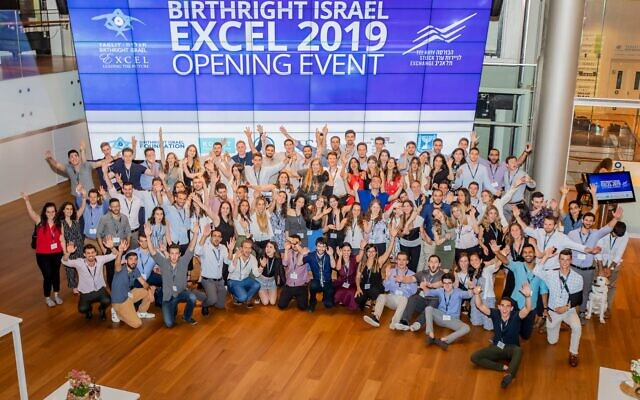 Birthright Excel participants at the opening of their 2019 program, which is taking place virtually in 2020 due to the coronavirus (Courtesy Birthright)
