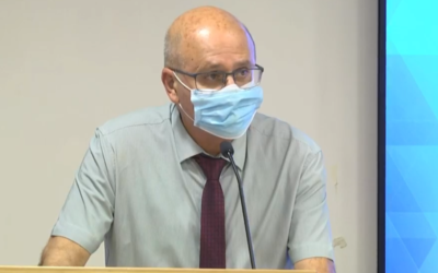 Chezy Levy, the director-general of the Health Ministry, at a press conference at the Health Ministry on June 21, 2020. (Screen capture: Facebook)