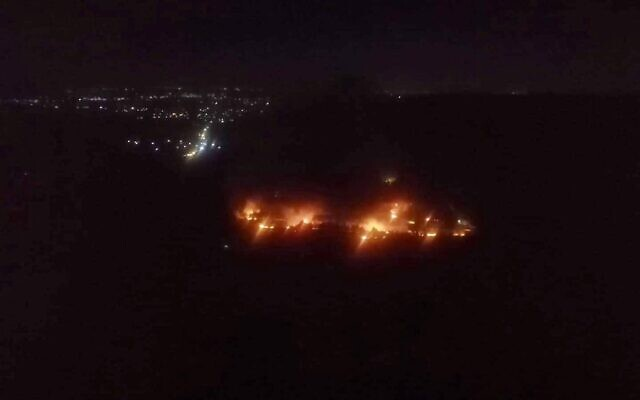 Fires caused by a reported Israeli attack on a site in Masyaf in northern Syria on June 4, 2020. (Screen capture)