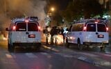 Police arrest demonstrators who threw rocks, burned trash cans in protest of decision to demolish cemetery in Jaffa on June 10, 2020 (Israel Police)