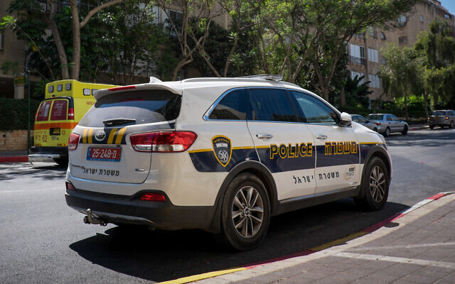 FILE -- A police car parked in Petah Tikva, August 4, 2017 (Roy Alima/Flash90)