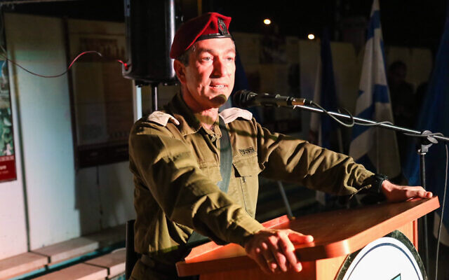 Then-head of the IDF Central Command Major General Roni Numa at a ceremony at Gush Ezion junction, in the West Bank, on December 13, 2017. (Gershon Elinson/Flash90)
