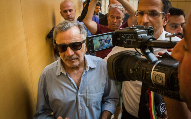 Actor Moshe Ivgy arrives at the Haifa Magistrate's Court for the opening of his trial, June 18, 2018 (Meir Vaknin/Flash90)
