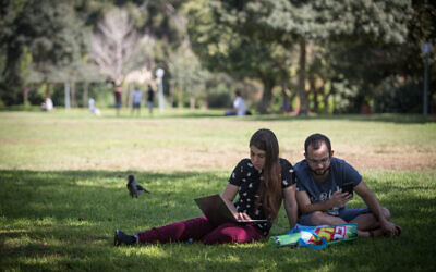 Students seen on the Safra Campus of the Hebrew University of Jerusalem, on the first day of the new Academic school year, on October 14, 2018. (Hadas Parush/Flash90)