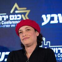 Blue and White's Tehila Friedman speaks at a conference in Jerusalem on February 11, 2019. (Noam Revkin Fenton/Flash90)
