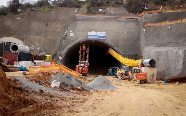 Illustrative: Construction on a new tunnel being dug underground to ease traffic congestion between Jerusalem and Gush Etzion, February 14, 2020. (Gershon Elinson/Flash90)