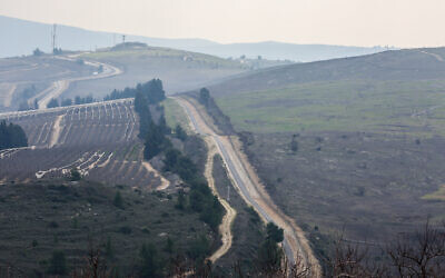 View of the border fence between Israel and Lebanon in northern Israel, February 16, 2020.  (David Cohen/Flash90)