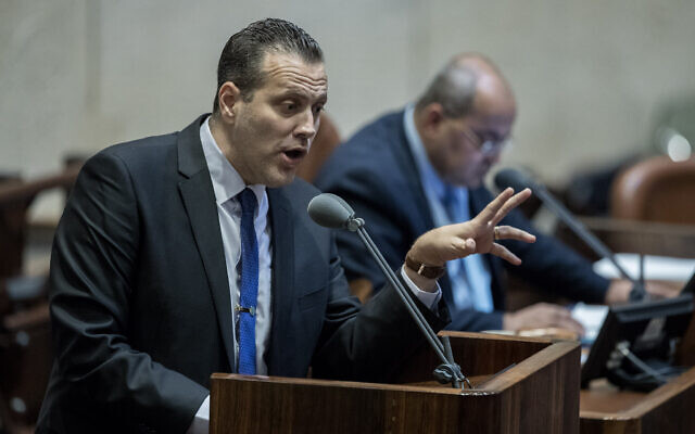 Likud MK Miki Zohar speaks in the Knesset, Jerusalem on February 17, 2020. (Yonatan Sindel/Flash90)