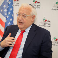 US ambassador to Israel David Friedman during a visit in the Jewish settlement of Efrat, in Gush Etzion, February 20, 2020. (Gershon Elinson/Flash90)