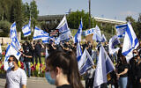El Al workers protest the airline's intention to lay off some employees due to the coronavirus economic crisis, on May 10, 2020, outside the Finance Ministry in Jerusalem  (Olivier Fitoussi/Flash90)