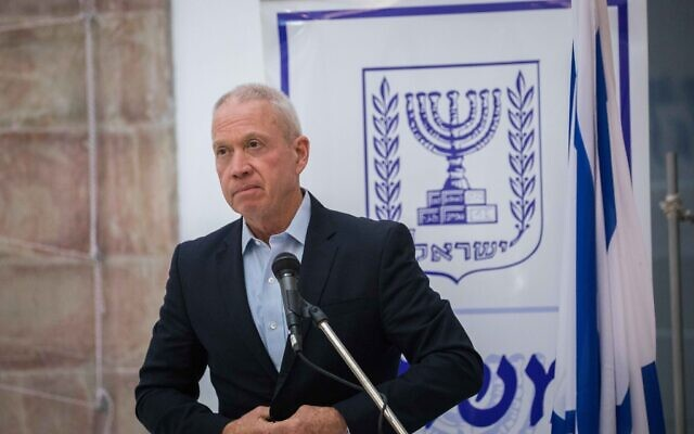 Education Minister Yoav Gallant at a passing the baton ceremony in Jerusalem on May 18 2020. (Olivier Fitoussi/Flash90)