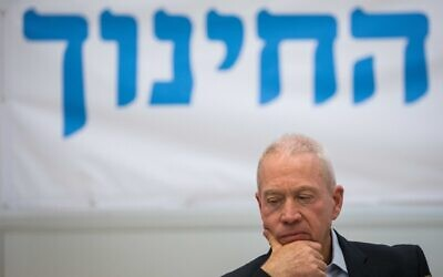 Education Minister Yoav Gallant, at the Ministry of Education in Jerusalem on May 18 2020. (Olivier Fitoussi/Flash90)