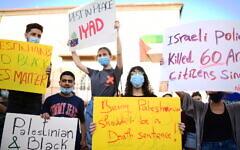 People protest against the police shooting of Palestinian Iyad Halak, in Tel Aviv-Jaffa, May 31, 2020. (Tomer Neuberg/Flash90)