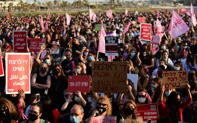 Israelis protest against violence towards women, in Tel Aviv on June 1, 2020. (Tomer Neuberg/Flash90)