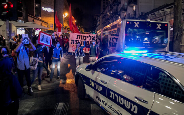 A protest in Jerusalem against the police killings of Iyad Halak and George Floyd, on June 2, 2020. (Olivier Fitoussi/Flash90)