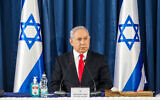 Prime Minister Benjamin Netanyahu chairs the weekly cabinet meeting in Jerusalem on June 7, 2020. (Marc Israel Sellem/Pool)