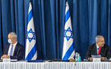 Prime Minister Benjamin and Alternate Prime Minister and Minister of Defense Benny Gantz at the weekly cabinet meeting, at the Ministry of Foreign Affairs in Jerusalem on June 14, 2020. (Marc Israel Sellem/POOL)