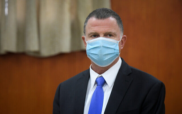 Health Minister Yuli Edelstein in the city of Bnei Brak on June 16, 2020. (Flash90)