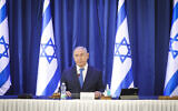 Prime Minister Benjamin Netanyahu at the weekly cabinet meeting, at the Foreign  Ministry in Jerusalem on June 21, 2020. (Marc Israel Sellem)