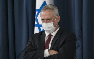 Defense Minister Benny Gantz at the weekly cabinet meeting at the Foreign Ministry, in Jerusalem, on June 28, 2020. (Olivier Fitoussi/Flash90)