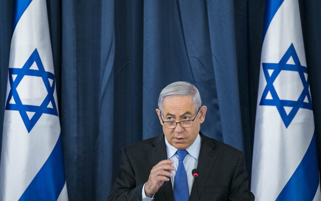 Prime Minister Benjamin Netanyahu at the weekly cabinet meeting at the Foreign Ministry in Jerusalem on June 28, 2020. (Olivier Fitoussi/Flash90)