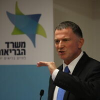 Health Minister Yuli Edelstein speaks during a press conference about the coronavirus at the Health Ministry in Jerusalem, June 28, 2020. (Olivier Fitoussi/ Flash90)