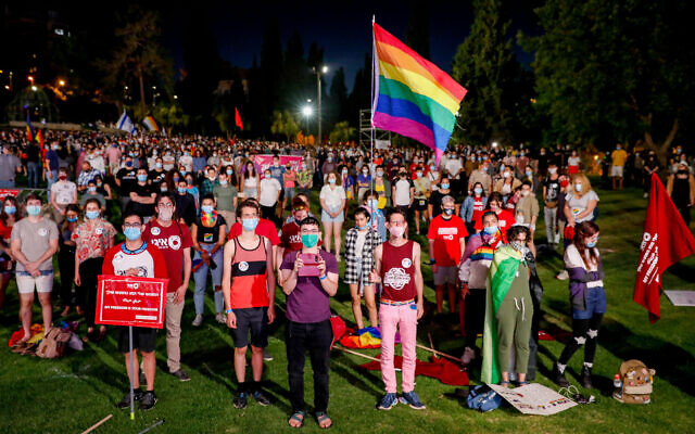 Israelis take part in a rally to mark the annual gay pride, which was canceled due to the coronavirus, at Independence Park in Jerusalem on June 28, 2020. (Olivier Fitoussi/Flash90)