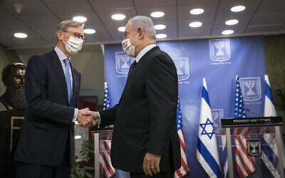 Prime Minister Benjamin Netanyahu meets with Brian Hook, US Special Representative for Iran and Senior Adviser to the US Secretary of State, in Jerusalem on June 30, 2020. (Olivier Fitoussi/Flash90)
