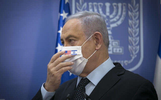 Prime Minister Benjamin Netanyahu at the Prime Minister Office in Jerusalem on June 30, 2020. (Olivier Fitoussi/Flash90)