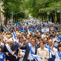 New York Gov. Andrew Cuomo marches in New York City's Celebrate Israel Parade, June 2, 2019. (David Dee Delgado/Getty Images via JTA)