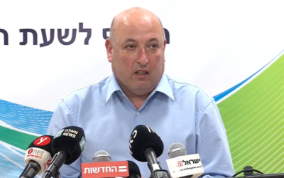 Health Ministry Deputy Director General Itamar Grotto at a press conference about the coronavirus, May 29, 2020. (Screen capture: Facebook)