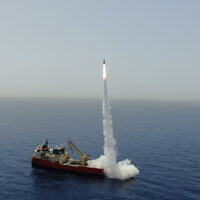 A LORA ballistic missile, produced by the  Israel Aerospace Industries defense firm, is test-fired at sea on June 2, 2020. (Israel Aerospace Industries)