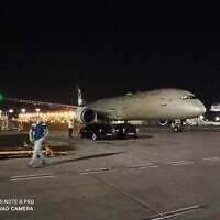 An Etihad airlines cargo plane at Ben-Gurion airport on June 9, 2020. (Moni Shiffer/Israel Airports Authority)