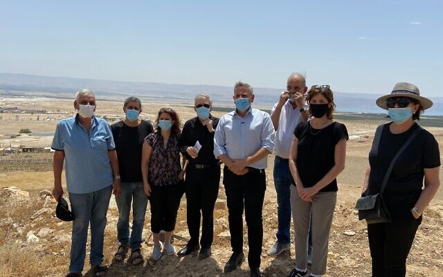 Current and former Meretz lawmakers at a lookout point above Jericho in the West Bank on June 4, 2020. (Jacob Magid/Times of Israel)