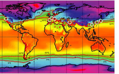 A map showing the temperate zone, highlighted in red, where the virus had climate conditions to thrive, according to a study published June 11, 2020. (CC-BY Sajadi MM et al. JAMA Network Open)