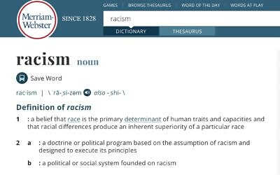 Screen capture of the Merriam-Webster dictionary entry for the term 'racism,' June 10, 2020. (Merriam-Webster)