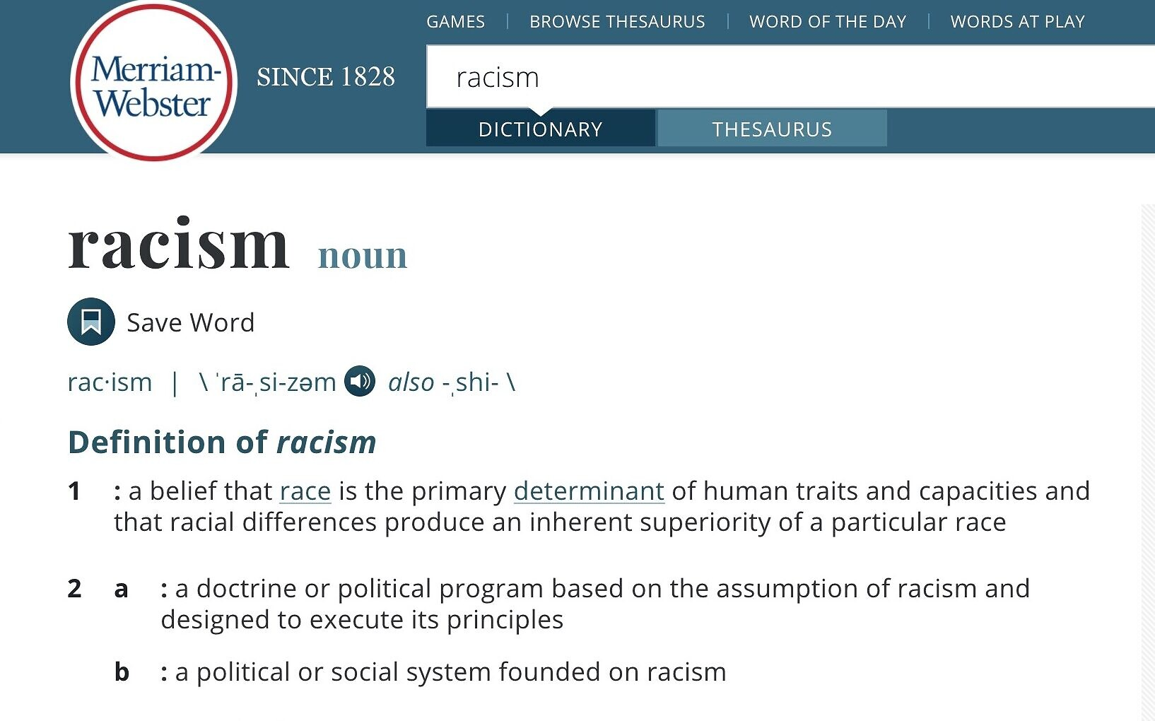 Merriam-Webster dictionary to change its definition of racism ...
