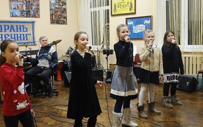 Children sing during a program at the JCC Migdal in Odessa, in this undated photo. (Courtesy Kira Verkhovsky)