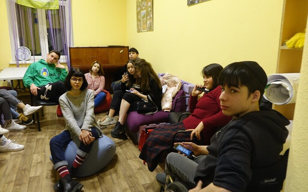 Teens hang out at the JCC Migdal in Odessa in this undated photo. (Courtesy Kira Verkhovsky)