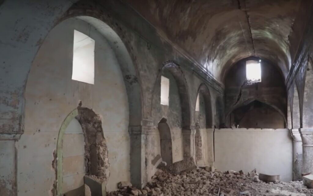 A synagogue in Mosul, Iraq, as seen in a France 24 report from April 2019. (Youtube screenshot)