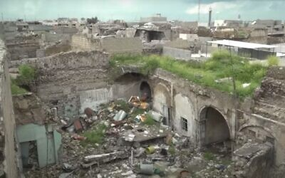 Synagogue in Mosul, Iraq, as seen in a France 24 report from April 2019. (Youtube still)