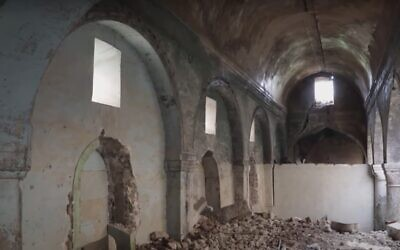 Mosul, Iraq, synagogue as seen in a France 24 report from April 2019. (Youtube still)