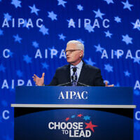 Howard Kohr, the CEO of AIPAC, opens the group's policy conference in Washington, D.C., March 4, 2018. (Courtesy of AIPAC via JTA)