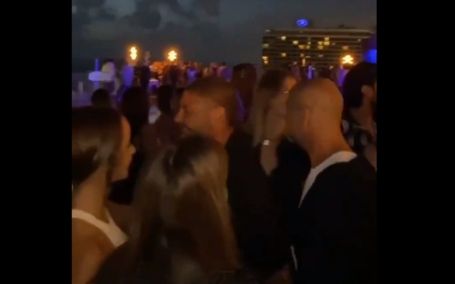 A party at the Carlton Hotel in Tel Aviv on June 2, 2020. (Screen capture: Twitter)