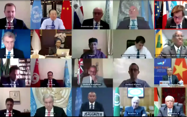 The UN Security Council holds a debate via videoconference on the Middle East, including the Palestinian Question, June 24, 2020 (UN screenshot)